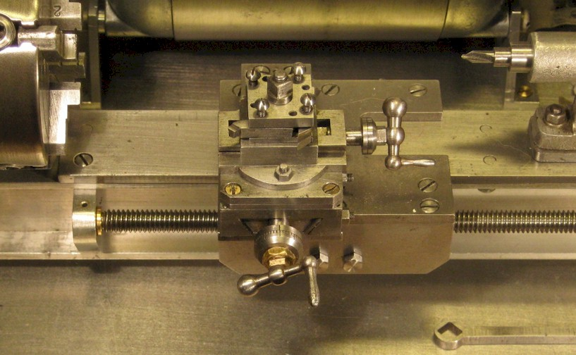 Four-way toolpost on a watchmaker's lathe