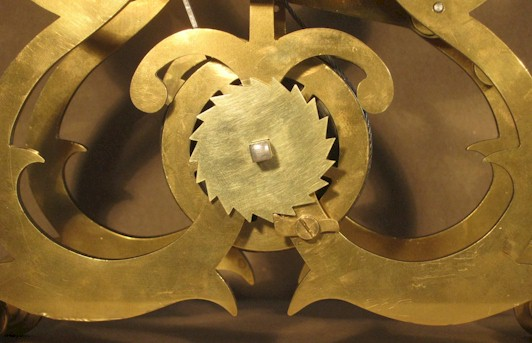 The completed ratchet wheel in place on the clock
