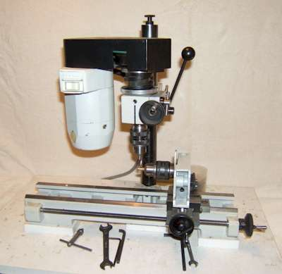 Unimat 3 set up as a milling machine