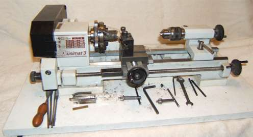 Unimat 3 set up as a lathe