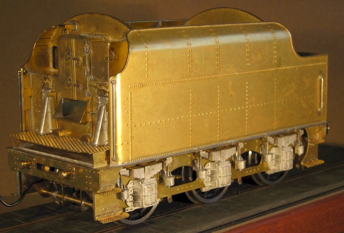 Three quater fron view: LMS Stanier 3500 gallon tender. 7mm scale (0 gauge) by David L O Smith