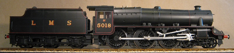 LMS Black Five locomotive No. 5018. Model in 7mm scale (0 gauge) by David L O Smith