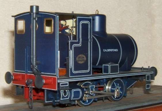 7mm scale model of Andrew Barclay fireless locomotive - rear view.  Built by David L O Smith