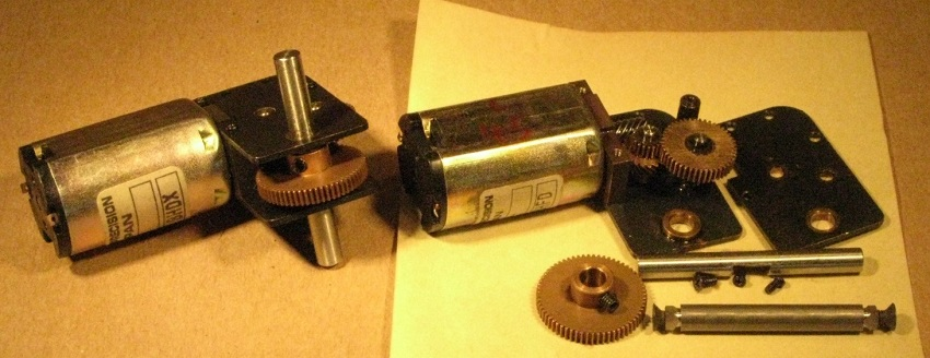 FineScaleBrass Canon motor and dismantled gearbox for 0 gauge