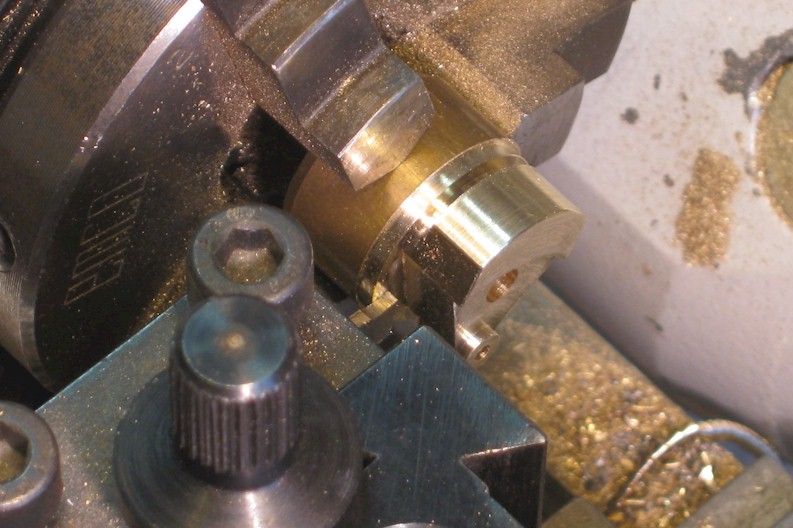 Parting off a flycrank on the Unimat lathe
