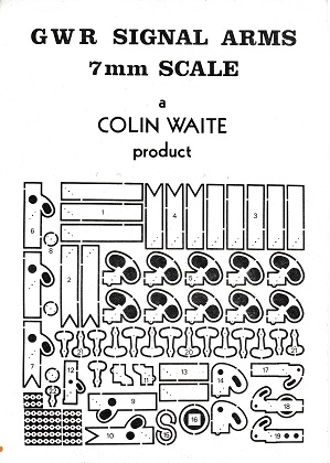 Etch of GWR signal arms by Colin Waite - 7 mm scale