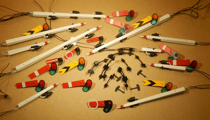 Parts of GWR signal dolls (posts) ready for assembly - 7 mm scale - David L O Smith