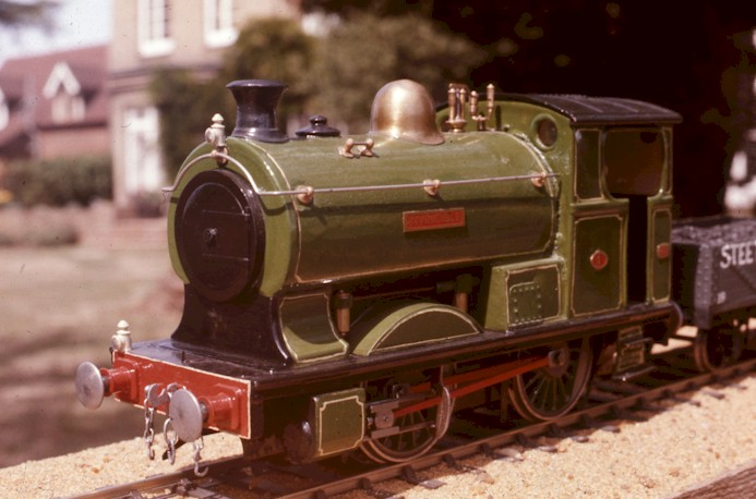 Former clockwork loco, Peckett 0-4-0ST by Bassett-Lowke. Now 12v 2R electric, Invincible