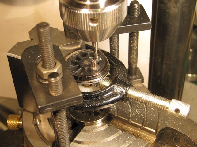 Milling out balance weight on central pair of driving wheels, Ixion Hudswell Clarke 0-6-0ST