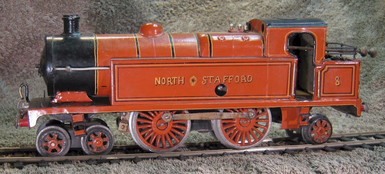 North Stafford Railway No. 8 Adams 4-4-2 superheated tank. Formerly c1934 Hornby 4-4-2 LMS No. 2 Special Tank Locomotive