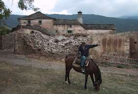 Bertrand at the ruins on the Aragon Trail, Spain